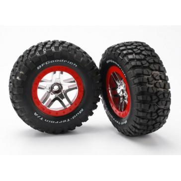 Tire & wheel assy, glued (SCT Split-Spoke, chrome red beadlo