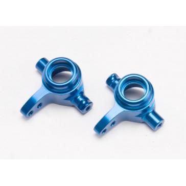 Steering blocks, aluminum, left & right (blue-anodized)