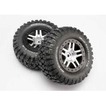 Tire & wheel assy, glued (SCT Split-Spoke, satin chrome whee