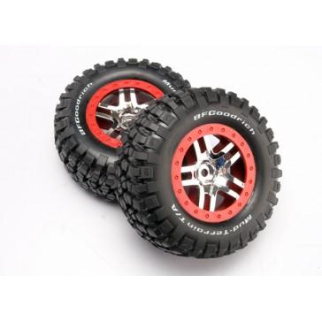 Tire & wheel assy, glued (SCT Split-Spoke chrome, red beadlo