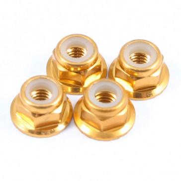 M4 GOLD FLANGED LOCKNUTS 4PCS