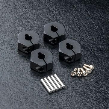 Alum. hex. wheel hubs 6mm (black) (4)