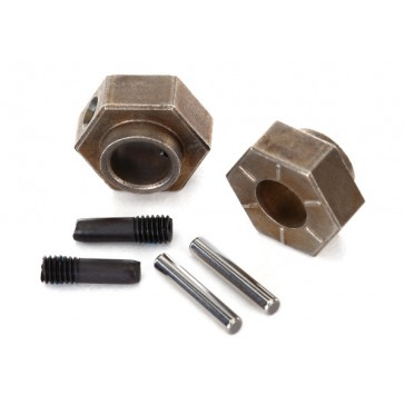 Wheel hubs, 12mm hex (2)/ stub axle pins (2) (steel) (fits T