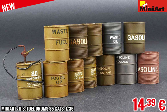 New - MiniArt - U.S. Fuel Drums S5 Gals. 1/35