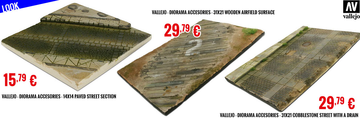 Look - Vallejo - Diorama Accesories - 14x14 Paved Street Section - 31x21 Wooden Airfield surface - 31x21 Cobblestone Street with a drain