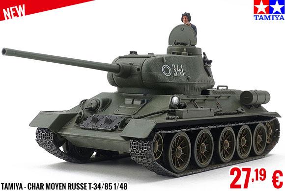 New - Tamiya - Char Moyen Russe T-34/85 1/48