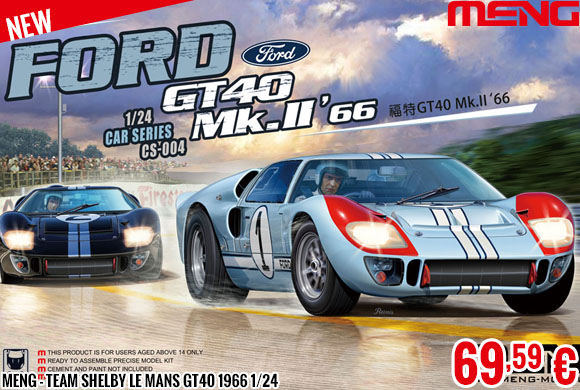 New - Meng - Team Shelby Le Mans GT40 1966 1/24