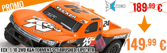 promo - ECX - 1/10 2WD K&N Torment SCT Brushed, LiPo: RTR