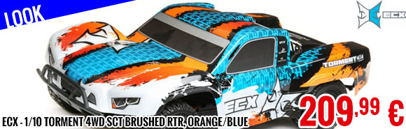 Look - ECX - 1/10 Torment 4WD SCT Brushed RTR, Orange/Blue
