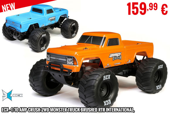 Look - ECX - 1/10 Amp Crush 2WD Monster Truck Brushed RTR International, Orange