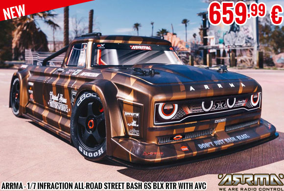 New - Arrma - 1/7 Infraction All-Road Street Bash 6S BLX RTR with AVC