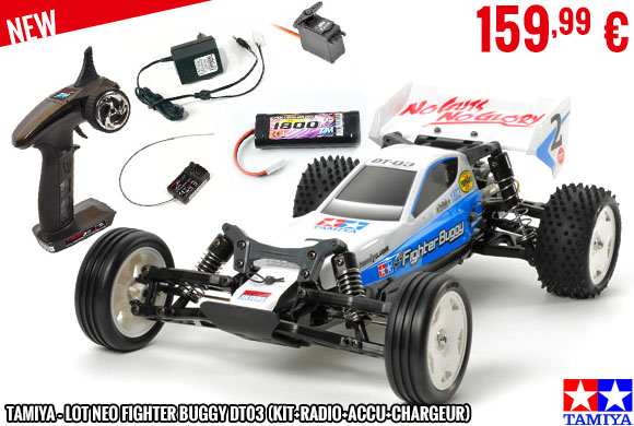 New - Tamiya - Lot Neo Fighter Buggy DT03 (kit+radio+accu+chargeur)