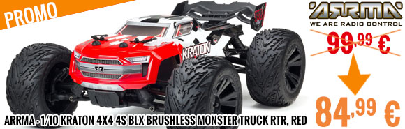 Promo - Arrma - 1/10 KRATON 4x4 4S BLX Brushless Monster Truck RTR, Red