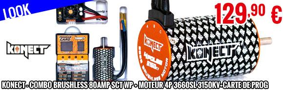 Look - Konect - Combo Brushless 80Amp SCT WP + moteur 4P 3660SL 3150Kv+carte de prog