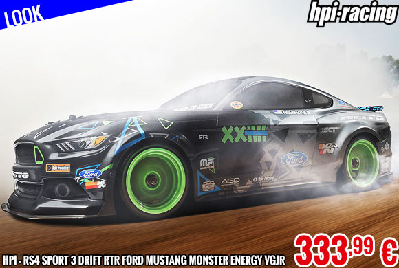 Look - HPI - RS4 Sport 3 Drift RTR Ford Mustang Monster Energy VGJR