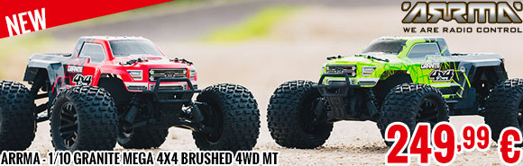 New - Arrma - 1/10 Granite Mega 4x4 Brushed 4WD MT