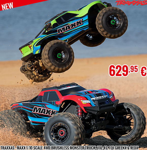 New - Traxxas - Maxx 1/10 Scale 4WD Brushless Monster Truck, VXL-4S, TQi GreenX & RedX