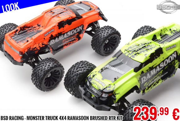 Look - BSD Racing - Monster truck 4x4 Ramasoon Brushed RTR Kit