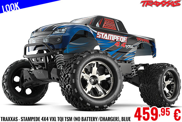 Look - Traxxas - Stampede 4x4 VXL TQi TSM (no battery/charger), Blue