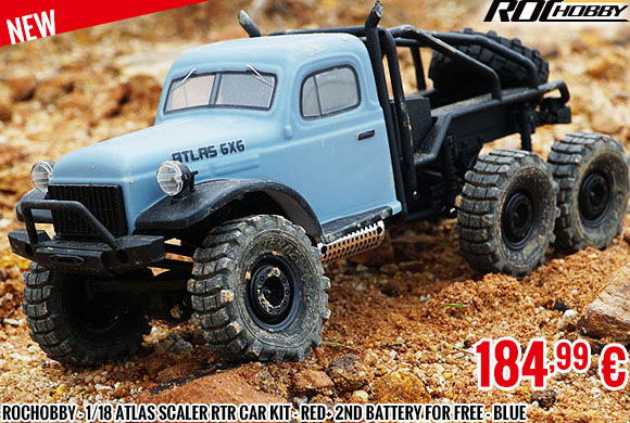 New - RocHobby - 1/18 Atlas scaler RTR car kit - Red+ 2nd battery for free - Blue