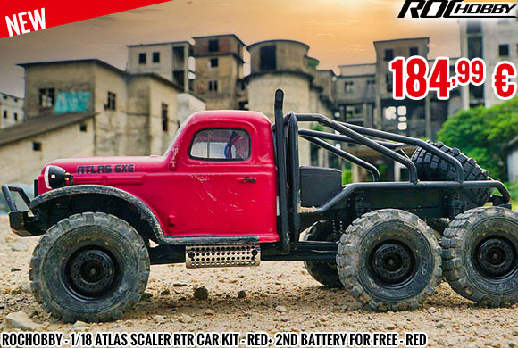 New - RocHobby - 1/18 Atlas scaler RTR car kit - Red+ 2nd battery for free - Red
