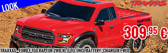 Look - Traxxas - Ford F-150 Raptor 2WD XL-5 TQ (incl battery/charger), Red
