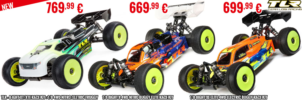 New - TLR - 1/8 8IGHT-X 4WD Nitro Buggy Elite Race Kit, 1/8 8IGHT-XE Elite 4WD Electric Buggy Race Kit, TLR - 8-ight XT/XTE Race Kit : 1/8 4WD Nitro/Eletric Truggy