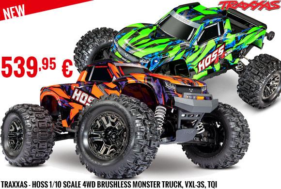 New - Traxxas - Hoss 1/10 Scale 4WD Brushless Monster Truck, VXL-3S, TQi