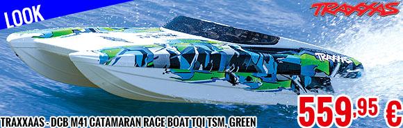 Look - Traxxaas - DCB M41 Catamaran Race Boat TQi TSM, Green