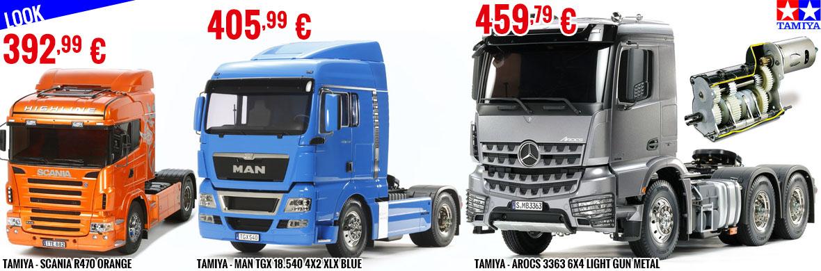 Look - Tamiya Scania R470 orange, Man Tgx 18.540 4X2 Xlx Blue, Arocs 3363 6x4 Light Gun Metal