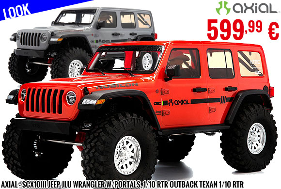 Look - Axial - SCX10III Jeep JLU Wrangler w/Portals, 1/10 RTR Outback Texan 1/10 RTR