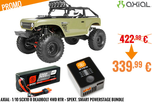 Promo - Axial - 1/10 SCX10 II Deadbolt 4WD RTR + Spekt. Smart PowerStage Bundle