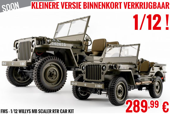 Soon - FMS - 1/12 Willys MB scaler RTR car kit