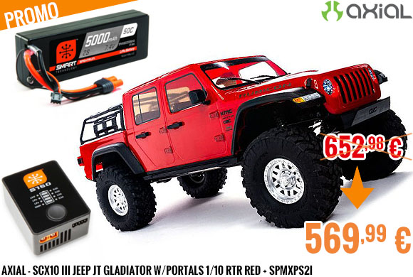 Promo - Axial - SCX10 III Jeep JT Gladiator w/Portals 1/10 RTR Red + SPMXPS2I