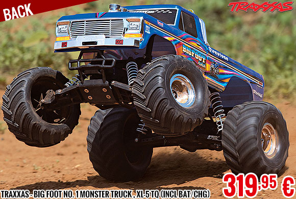 Back - Traxxas - Big Foot No. 1 Monster Truck , XL-5 TQ (incl bat/chg) BLUEX
