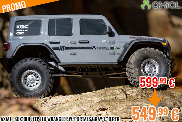 Promo - Axial - SCX10III Jeep JLU Wrangler w/Portals,Gray:1/10 RTR