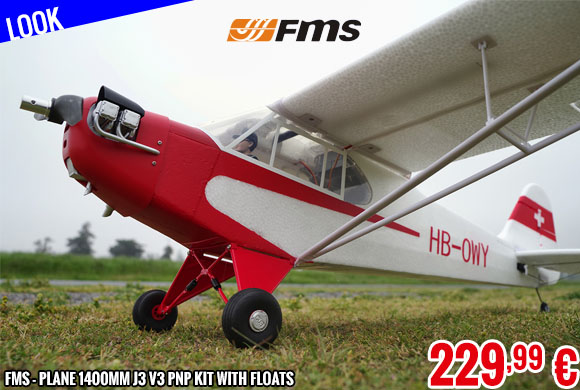 Look - FMS - Plane 1400mm J3 V3 PNP kit with Floats