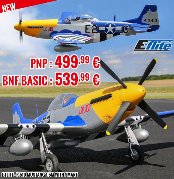 New - E-Flite - P-51D Mustang 1.5m with Smart