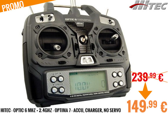 Promo - Hitec - Optic 6 MHZ + 2.4Ghz - Optima 7 - Accu, charger, no servo
