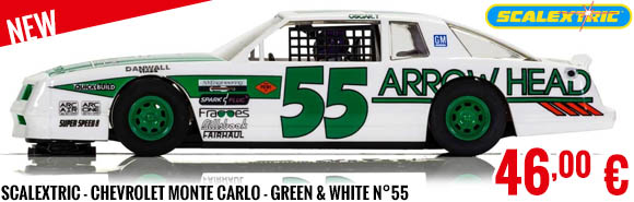 New - Scalextric - Chevrolet Monte Carlo - Green & White N°55