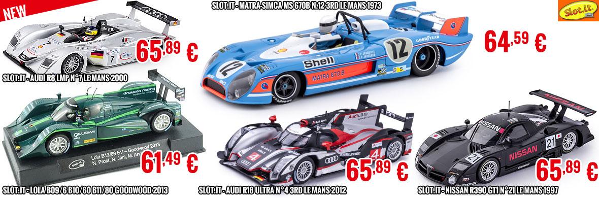 New - Slot.it Lola B09/6 B10/60 B11/80 Goodwood 2013 - Audi R8 LMP N°7 Le Mans 2000 -  Nissan R390 GT1 n°21 Le Mans 1997 - Audi R18 Ultra n°4 3rd Le Mans 2012 - Matra-Simca MS 670b n.12 3rd Le Mans 1973