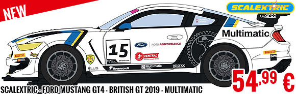 New - Scalextric - Ford Mustang GT4 - British GT 2019 - Multimatic Motorsports