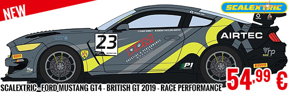 New - Scalextric - Ford Mustang GT4 - British GT 2019 - RACE Performance