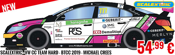 New - Scalextric - VW CC Team HARD - BTCC 2019 - Michael Crees