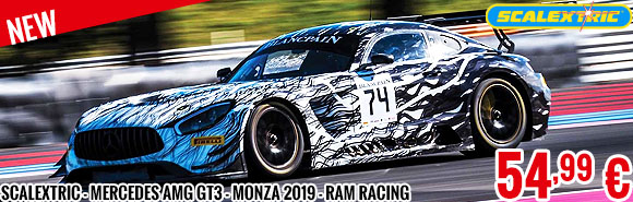 New - Scalextric - Mercedes AMG GT3 - Monza 2019 - RAM Racing