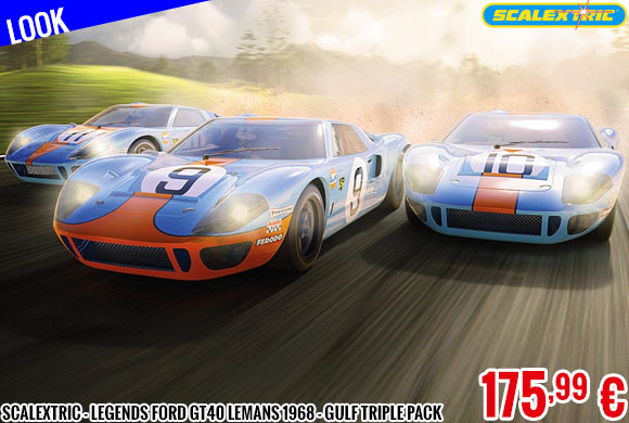 Look - Scalextric - Legends Ford GT40 LeMans 1968 - Gulf Triple Pack