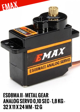 EMax ES08MA II - Metal Gear Analog Servo 0,10sec - 1,8kg - 32x11x24mm 12g