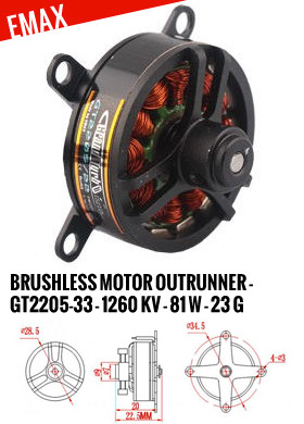 EMax Moteur Brushless outrunner - GT2205-33 (1260kv - 81w - 23g)